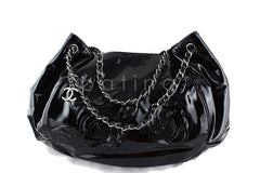 RARE Chanel Black Ltd. Edition Patent Camelia Petals Tote Bag - Boutique Patina  - 2