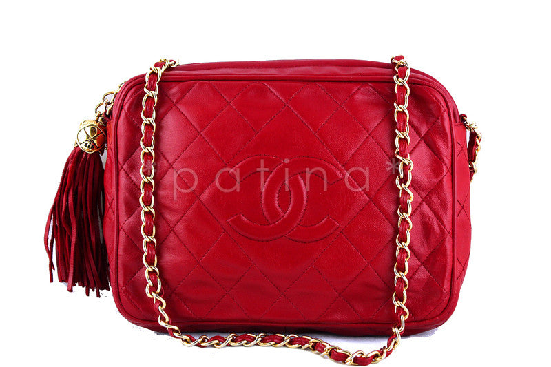 Chanel Red Classic Quilted Camera Case, Lambskin Bag