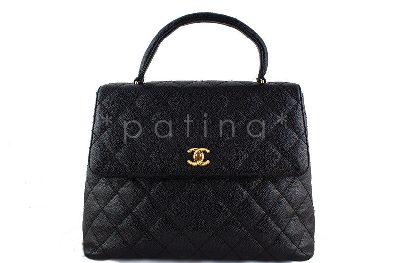 Chanel Black Caviar 2.55 Classic Quilted Kelly Flap Bag