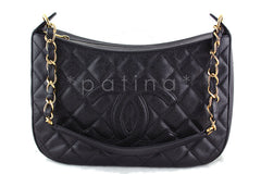 Chanel Black Caviar Quilted Hobo Shopper Bag - Boutique Patina  - 1