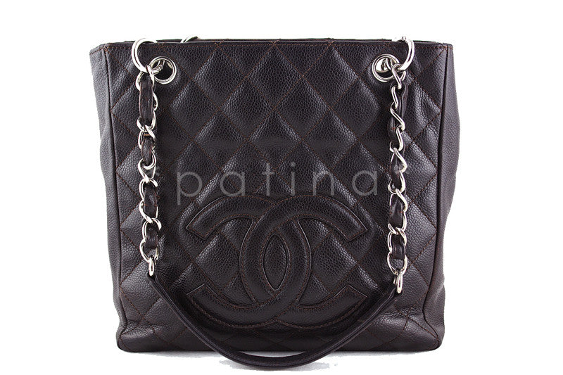 Chanel Dark Brown Caviar Classic Petite Shopper Tote PST Bag