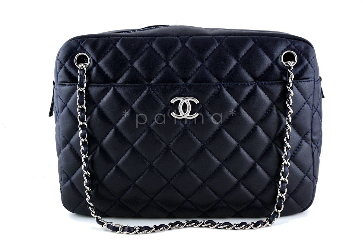 Chanel Navy Classic Large 2.55 Jumbo XL Maxi Camera Case Bag