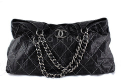 Chanel Black XL Jumbo Contrast Stitch Luxury Cabas Tote Bag