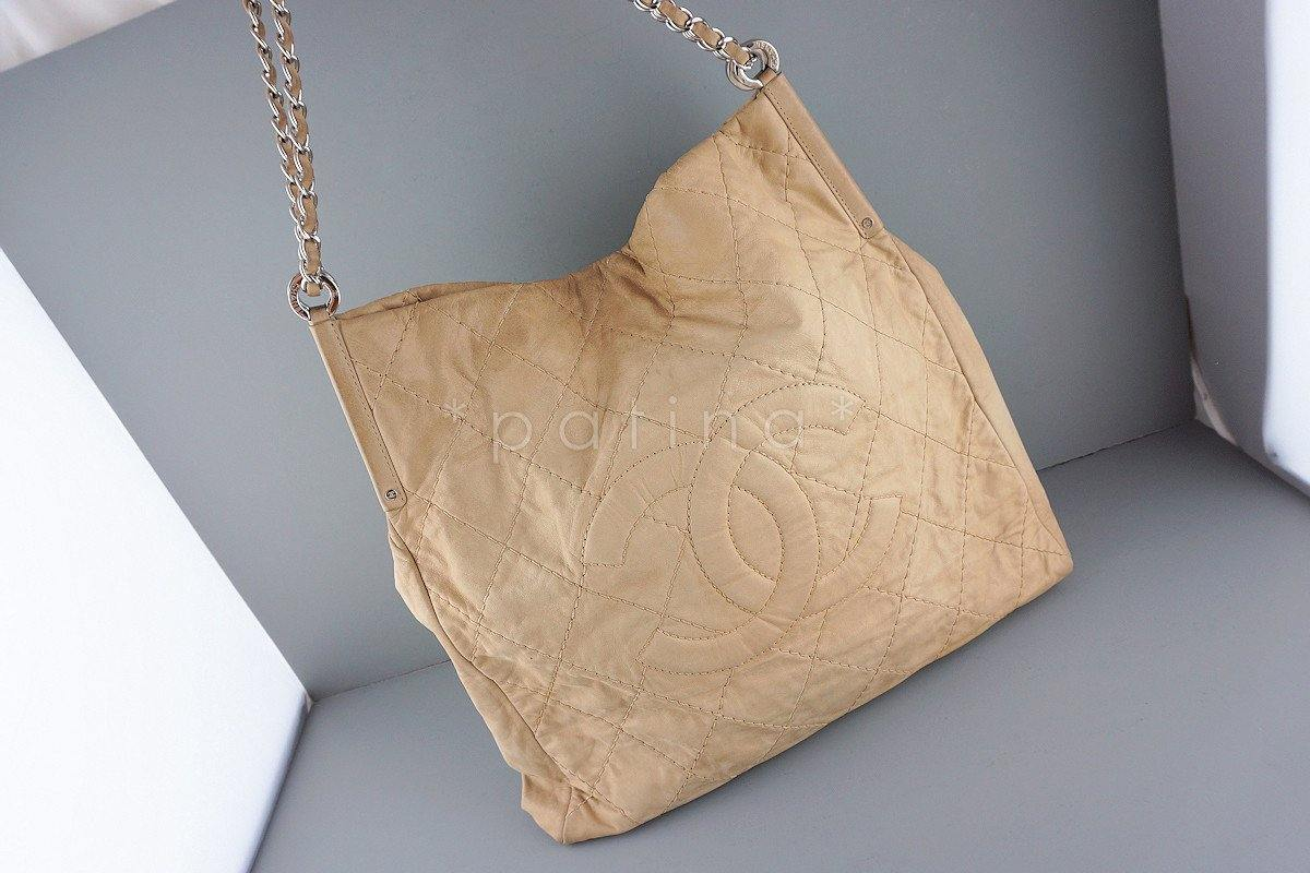 Chanel Beige Hobo Tote, Logo Classic Shopper Bag - Boutique Patina  - 1
