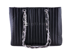 Chanel Black Lambskin Tote, Mademoiselle Vertical Stitch Shopper Bag - Boutique Patina  - 2