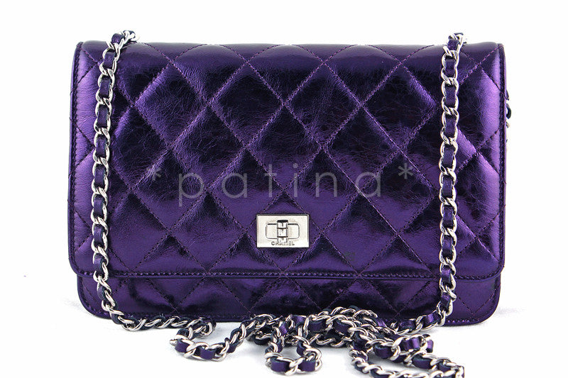 11f758bd8c32 Chanel Metallic Purple Classic Reissue WOC Wallet Chain Purse Bag