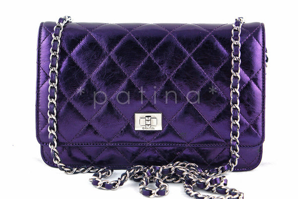 Chanel Metallic Purple Classic Reissue WOC Wallet Chain Purse Bag