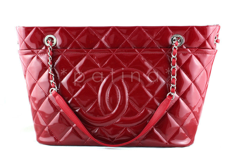 Chanel Red Patent Timeless Grand Shopping Tote GST Bag