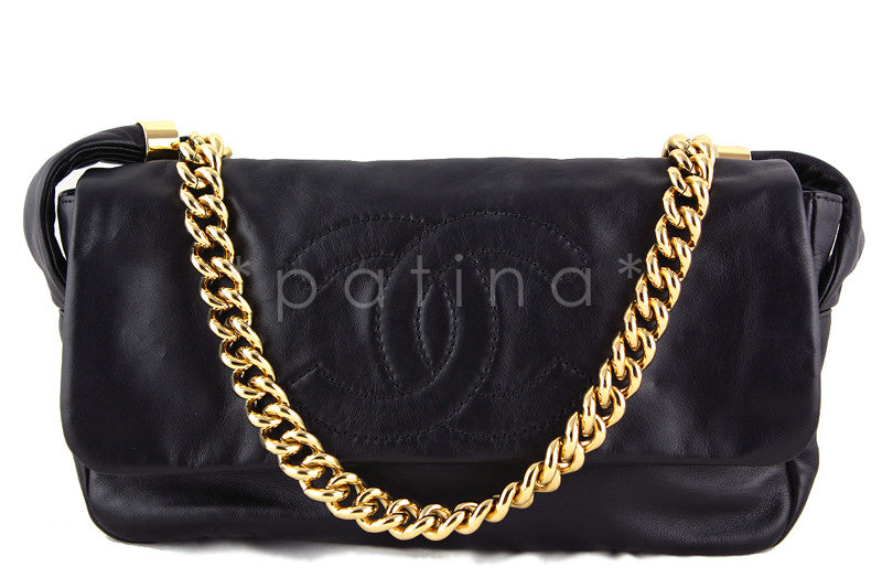 Chanel Black Rodeo Drive Jumbo Chunky Chain Logo Flap Bag