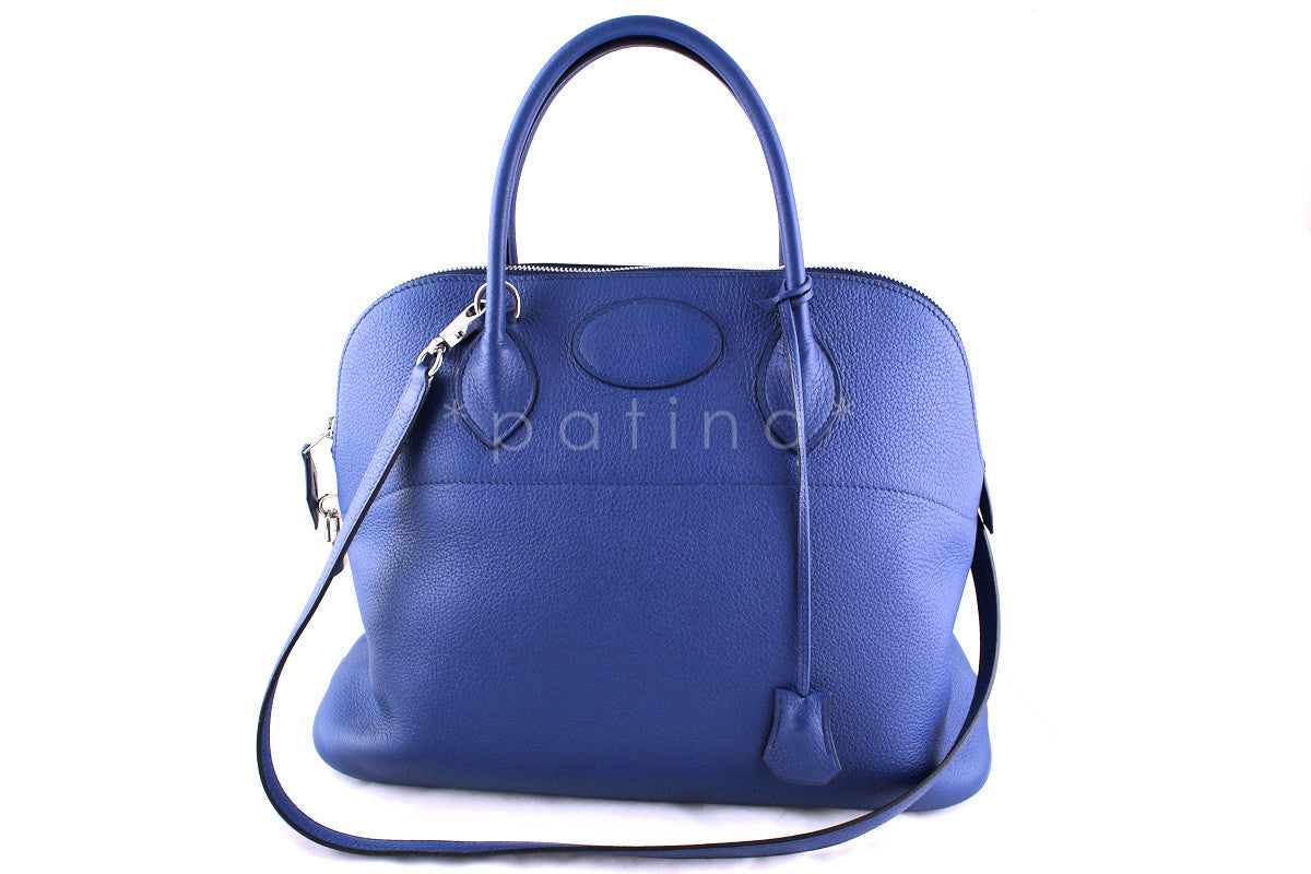 Hermes Brighton Blue Clemence 35/37cm Mou Bolide Bag - Boutique Patina  - 1