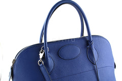 Hermes Brighton Blue Clemence 35/37cm Mou Bolide Bag - Boutique Patina  - 9