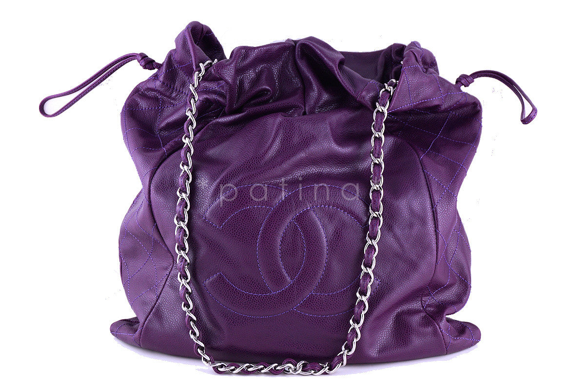 Chanel Violet Soft Caviar Large Logo Tote Bag