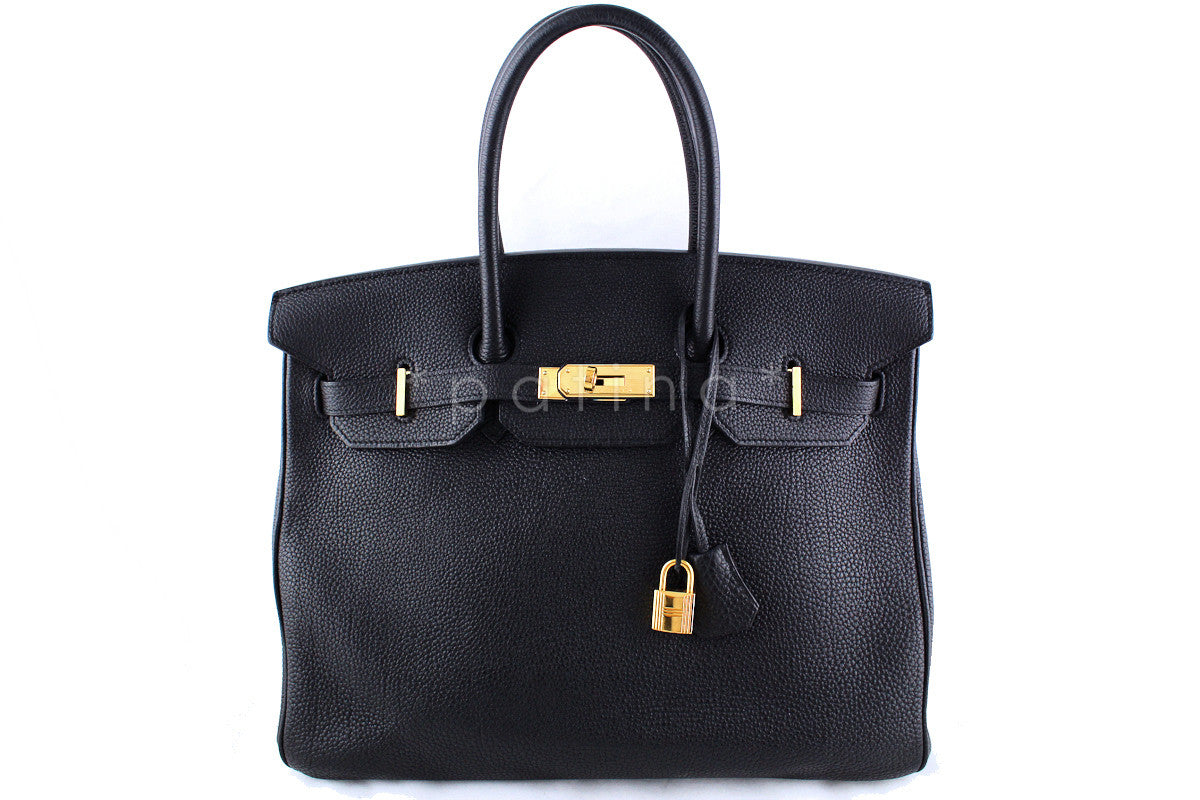 "Hermes Black Togo ""L"" Stamp 35cm Birkin Bag"