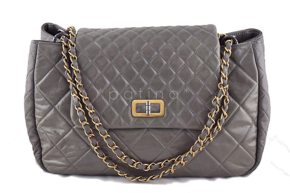 Chanel Reissue Maxi Flap Tote, Taupe Beige Two-Tone Bag