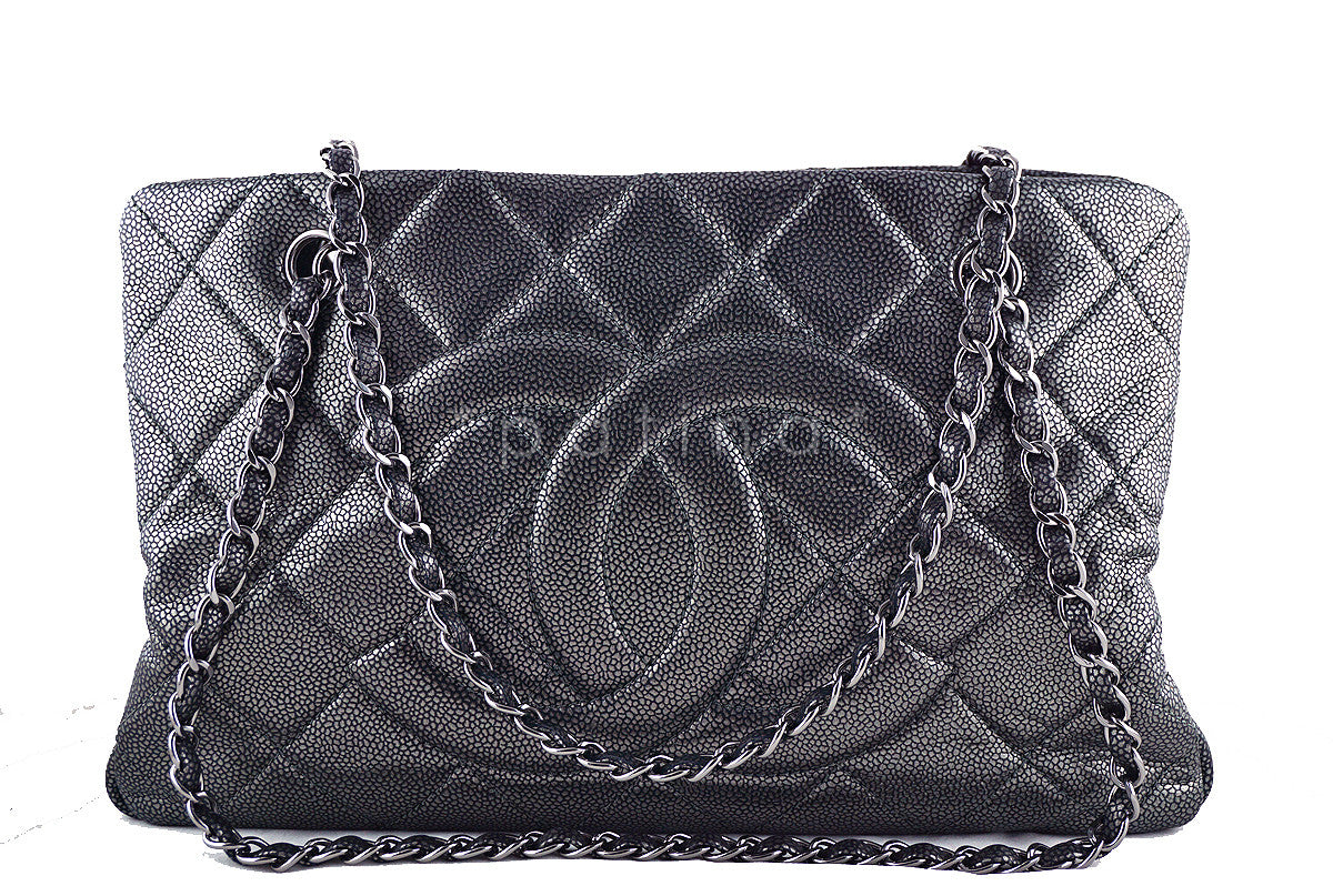 Chanel Pewter Caviar Quilted Timeless Grand Shopping Tote GST Bag