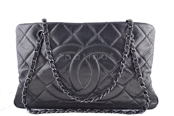 dbfe399d13f4 Chanel Pewter Caviar Quilted Timeless Grand Shopping Tote GST Bag