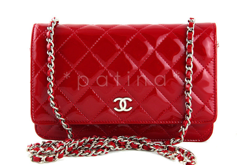 Chanel Red Patent WOC Wallet on Chain Classic Quilted Flap Bag, Full Set