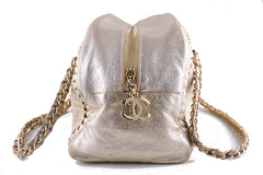Chanel Gold Distressed Luxury Ligne Bowler Bag - Boutique Patina  - 2