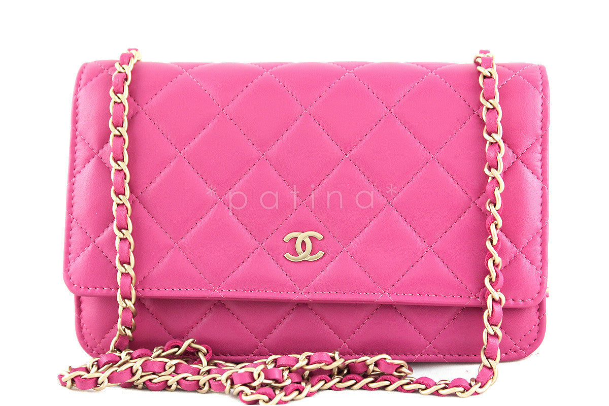 Rare Chanel Rose Pink Classic Quilted WOC Wallet on Chain Flap Bag Gol 01f1be4f8e05b