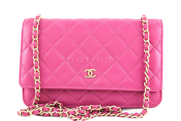 Rare Chanel Rose Pink Classic Quilted WOC Wallet on Chain Flap Bag Gold HW
