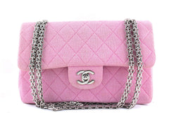 Chanel Pink Quilted Classic 2.55 Medium Jersey Flap Bag - Boutique Patina  - 1