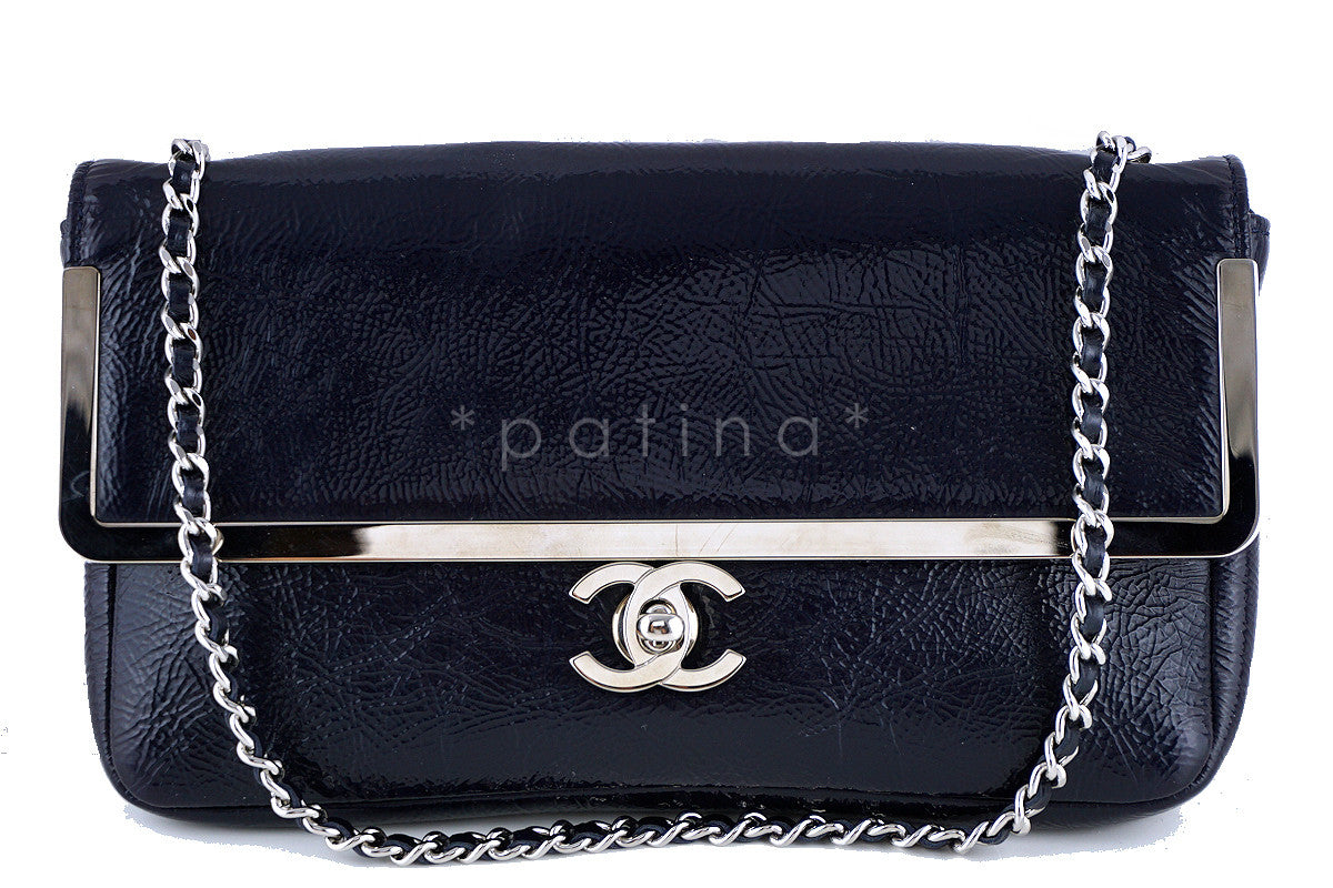 Chanel Navy Patent Lambskin Luxe Frame Classic Flap Bag - Boutique Patina  - 1