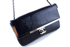 Chanel Navy Patent Lambskin Luxe Frame Classic Flap Bag