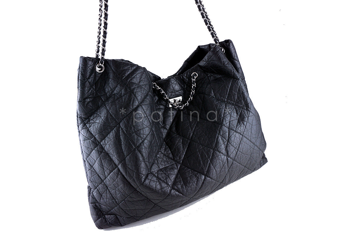 Chanel Black XXL Reissue Giant Surpique Tote Bag