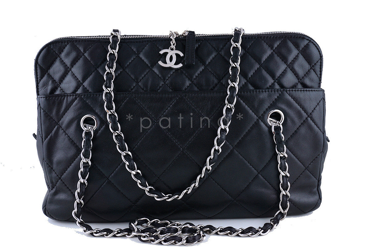 Chanel Camera In Business Tote CC Charm Black Classic Quilted  Bag - Boutique Patina  - 1