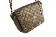 Chanel Gold Olive Istanbul Braided Chain Jumbo Flap Bag