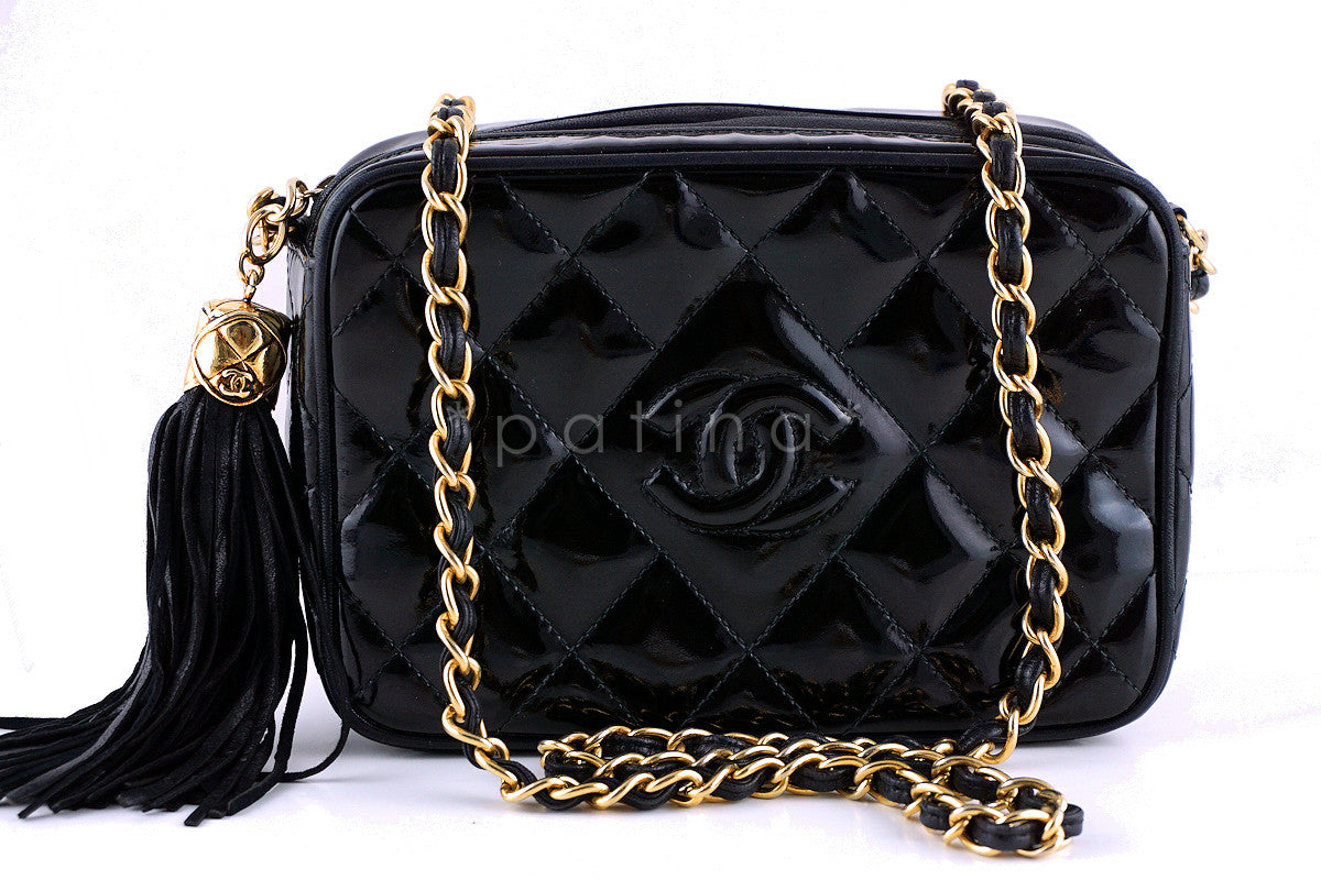 Chanel Vintage Black Patent Classic Quilted Camera Case Bag