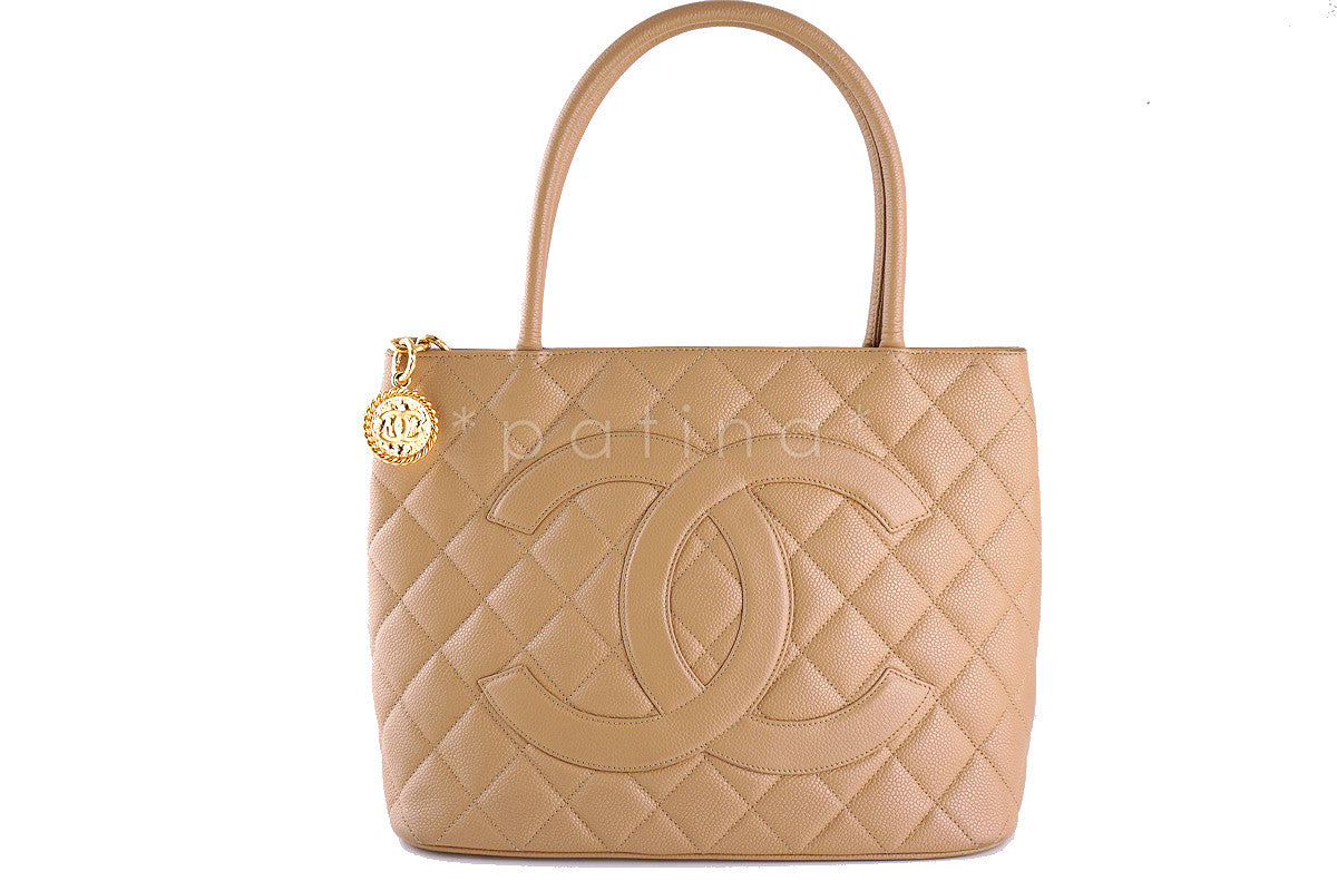 Chanel Beige Caviar Classic Quilted Medallion Shopper Tote Bag
