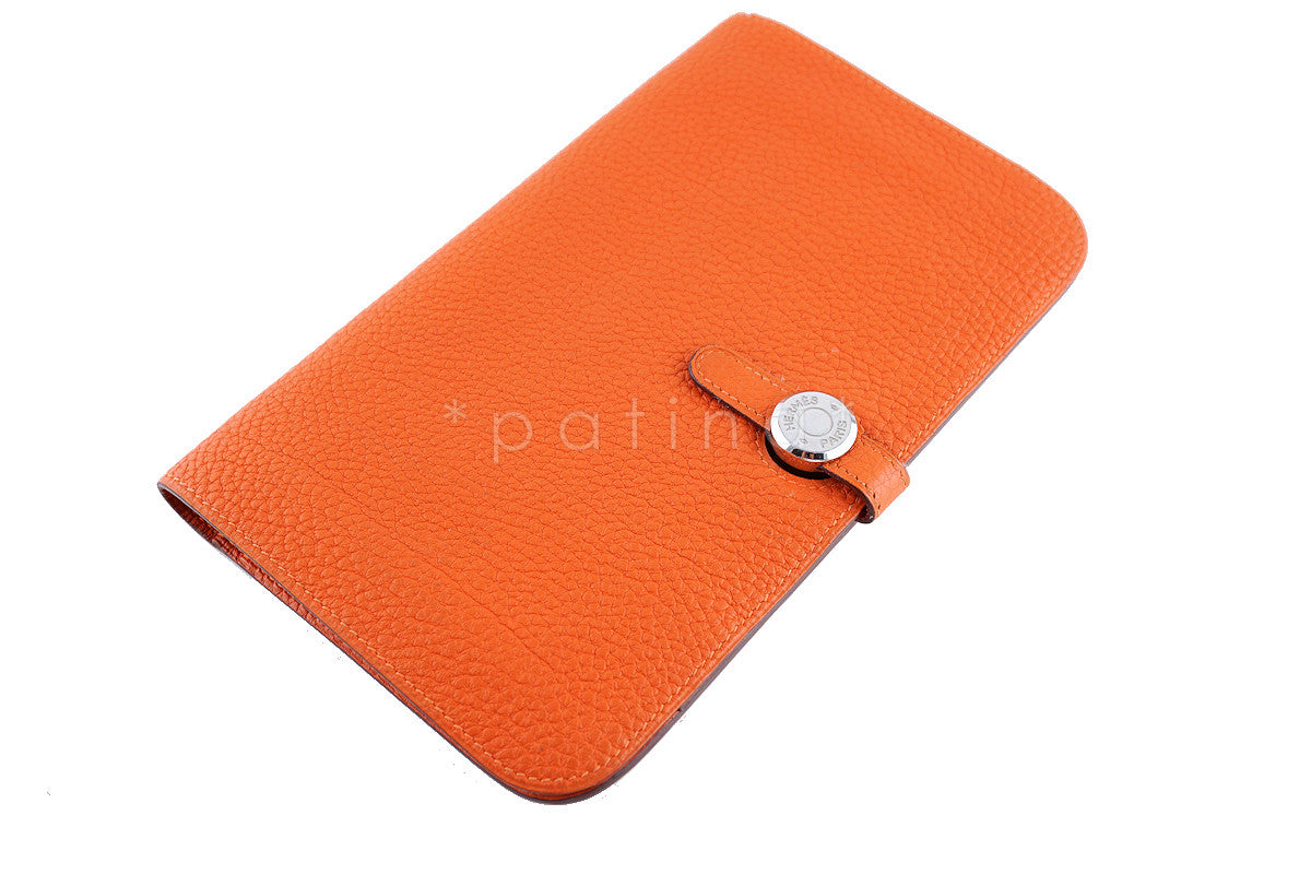 Hermes Large Orange Togo Dogon GM Wallet w/ Coin Purse Bag