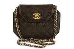 Chanel Lizard Angled Mini Quilted Classic Flap Olive Brown Bag