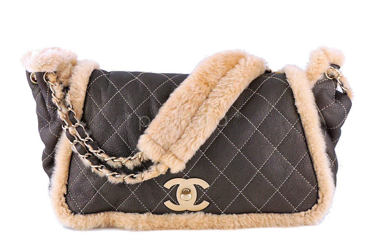 Chanel Brown Quilted Suede/Shearling Jumbo Classic Flap Bag Bag