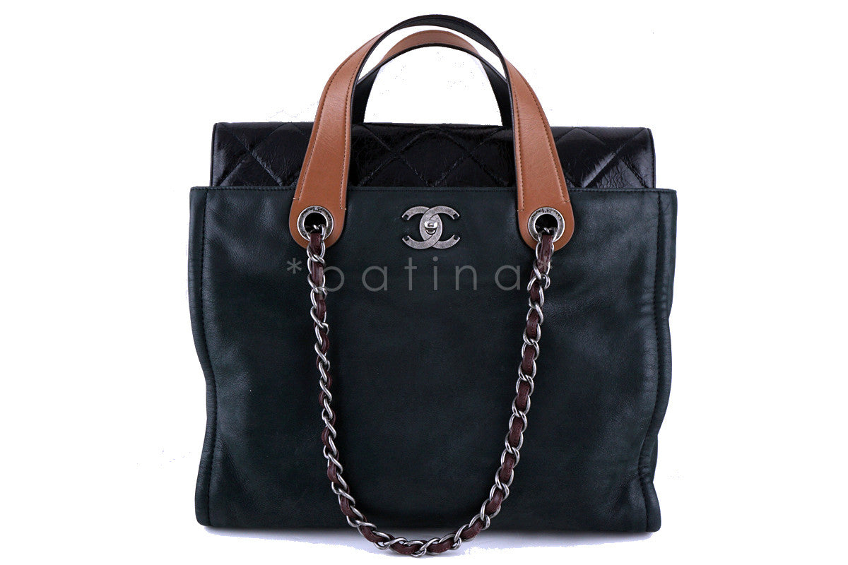 Chanel Black In the Mix Portobello Soft CC Turnlock Tote Bag