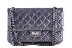 Chanel Dark Silver 226 Classic Reissue 2.55 Flap Distressed Calf Bag - Boutique Patina  - 1