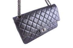 Chanel Dark Silver 226 Classic Reissue 2.55 Flap Distressed Calf Bag - Boutique Patina  - 2