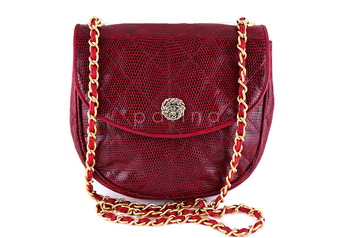 Chanel Rare Vintage Cherry Red Quilted Lizard Flap Bag