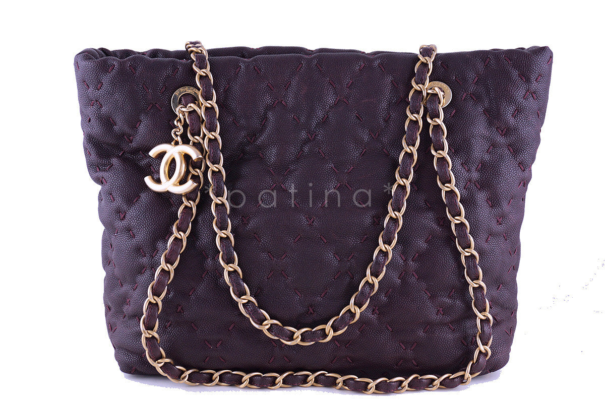 Chanel Plum Violet Quilted Caviar Brushed Gold Charm Tote Bag - Boutique Patina  - 1