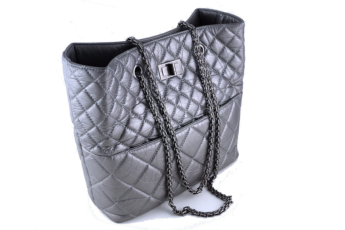 Chanel Silver Gray Tall Quilted Large Classic Reissue Tote Bag