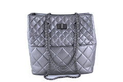 Chanel Silver Gray Tall Quilted Large Classic Reissue Tote Bag - Boutique Patina  - 2