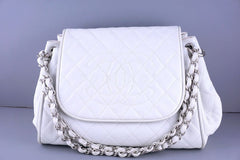 Chanel White Classic Caviar Quilted Timeless Logo Accordion Jumbo Flap Bag - Boutique Patina  - 1