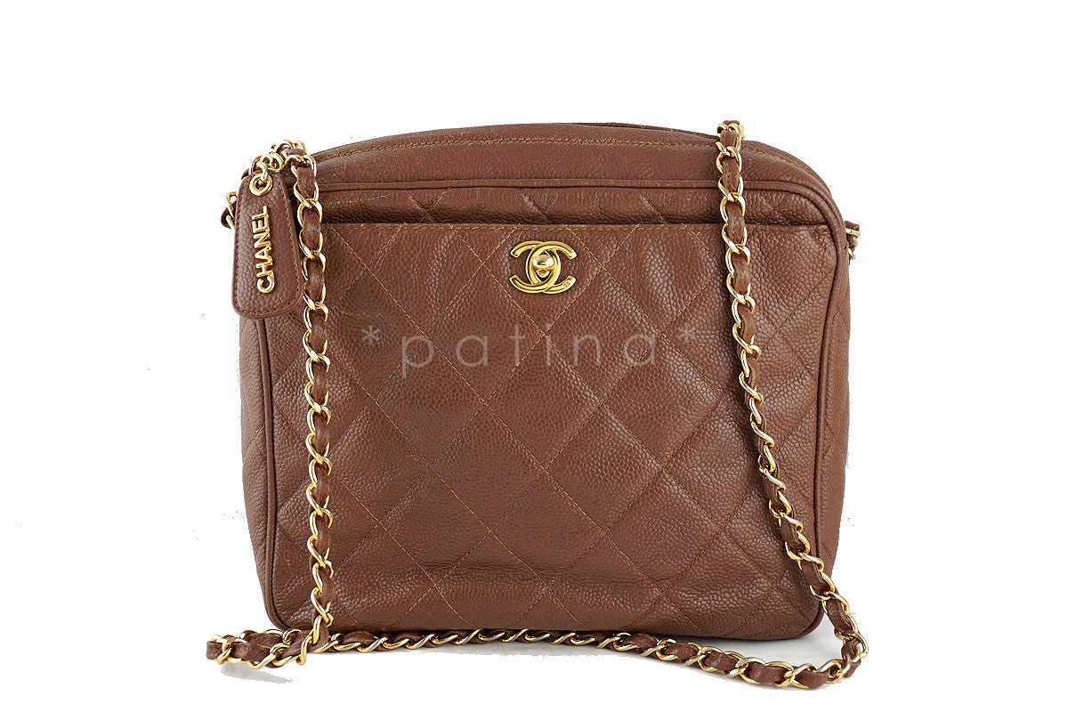 Chanel Camel Vintage Caviar Classic 2.55 Camera Case Bag