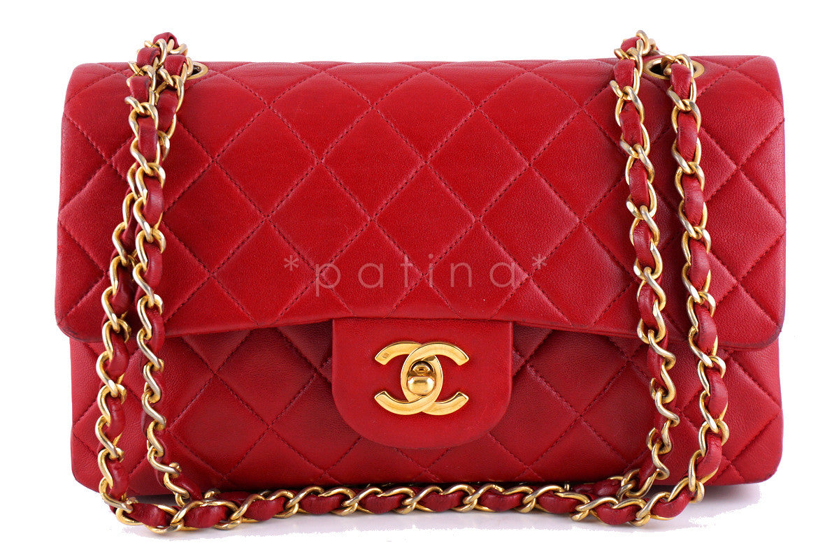 Chanel Red Lambskin Medium-Small Classic 2.55 Double Flap Bag