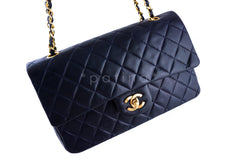 Chanel Navy Lambskin Medium-Large Classic 2.55 Double Flap Bag - Boutique Patina  - 2