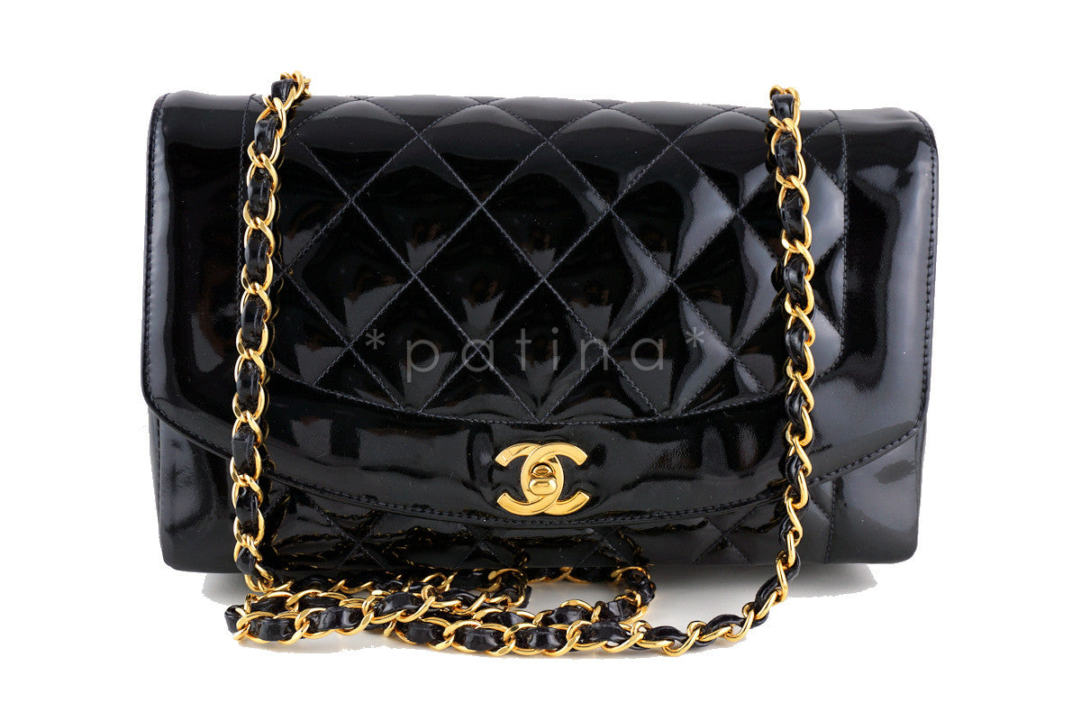 Chanel Vintage Patent Black 10in. Quilted Classic Shoulder Flap Bag - Boutique Patina  - 1