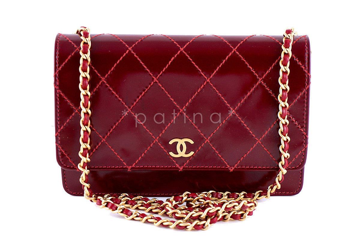 Chanel Red Wine Classic WOC Wallet on Chain Matte Patent Gold HW Bag - Boutique Patina  - 1