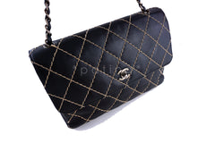 Chanel 12 in. Black Contrast Stitch Surpique Classic Jumbo Flap Bag - Boutique Patina  - 2