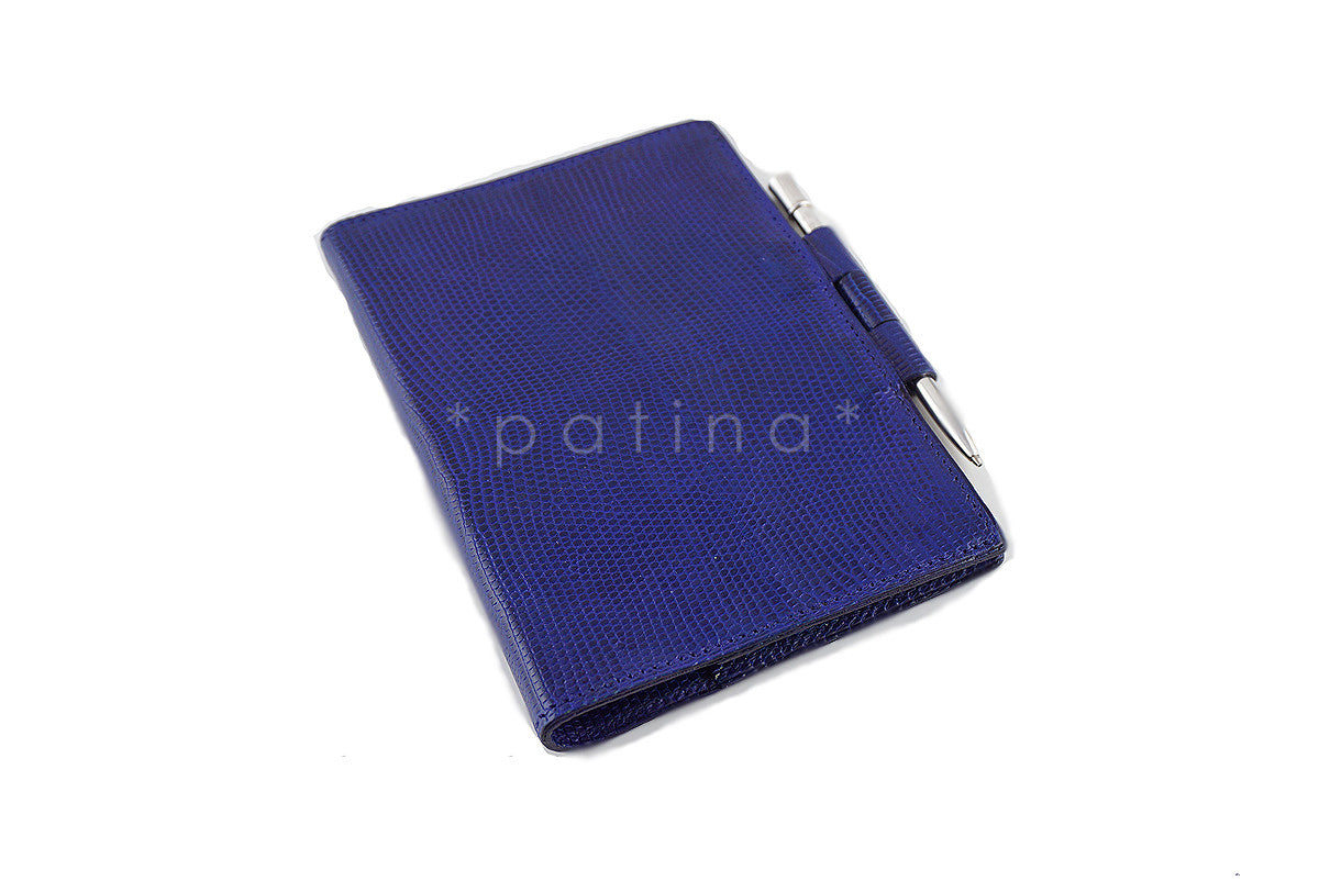 Hermes Blue Sapphir Lizard Mini Agenda PM, Sterling Silver Mechanical Pencil